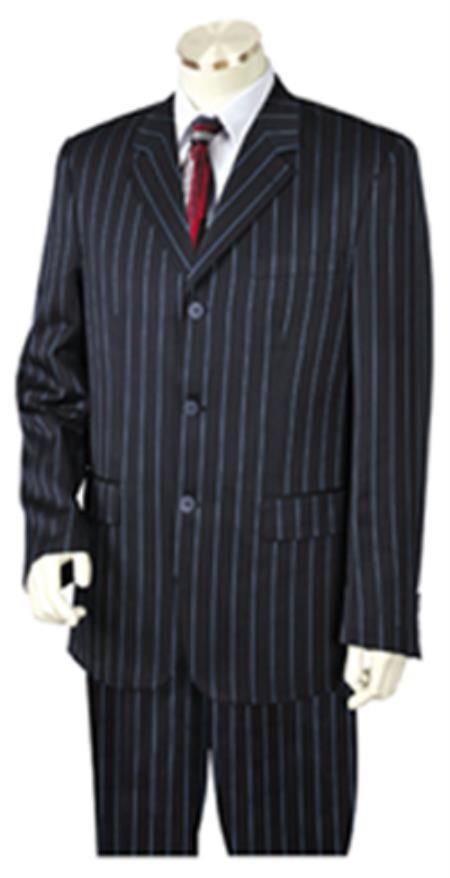 Bold Chalk Pronounce Gangster Pinstripe 3 Button Vested Wide Leg Pants Navy Blue