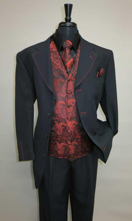 Mens Four Button Single Breasted Suit Vested Suit Vested Suit Black ~ Red