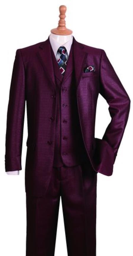 Mens Notch Lapel Burgundy Suit