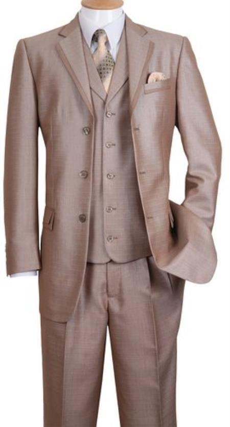 Mens 3 Button Notch Lapel Fashion Cheap Priced Business Suit Tan