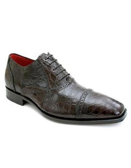 Mens Mezlan Brown Crocodile Shoes