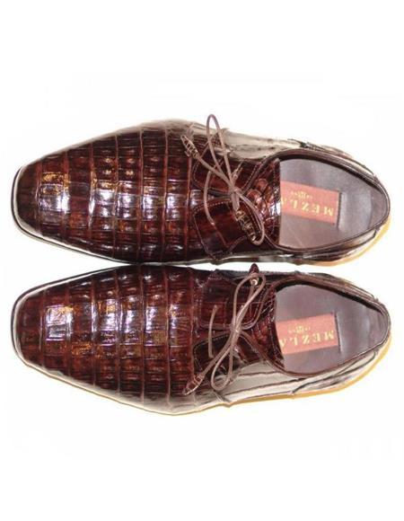Mens Mezlan Brown Genuine Alligator Shoes