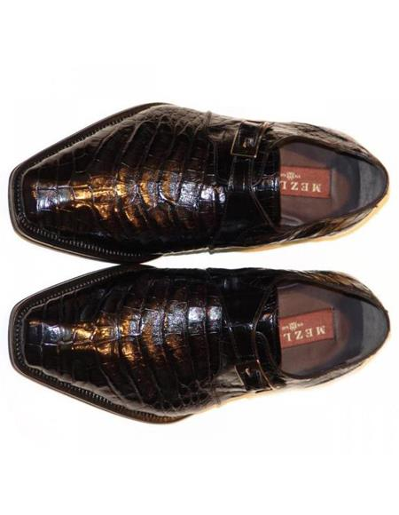 Mens Mezlan Black Genuine Alligator Shoes