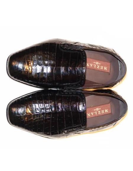 Mens Mezlan Alligator Loafer Black Shoes