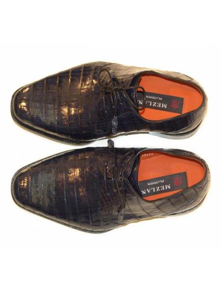 Mens Mezlan Full Baby Alligator Plain Toe Navy Shoes