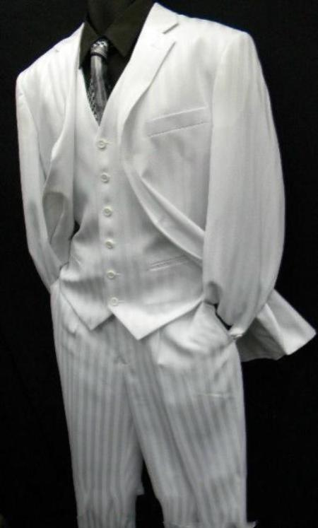 Shiny Flashy White tone on tone Shadow Stripe ~ Pinstripe Vested Available in 2 Button S
