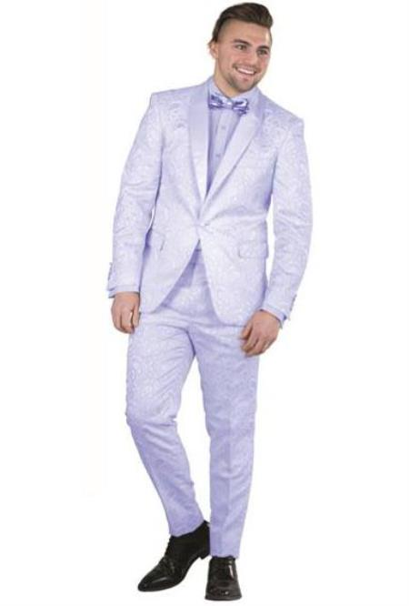 Mens Blue Single Breasted Paisley Floral Prom ~ Wedding Suit - Sky Blue Color Suit