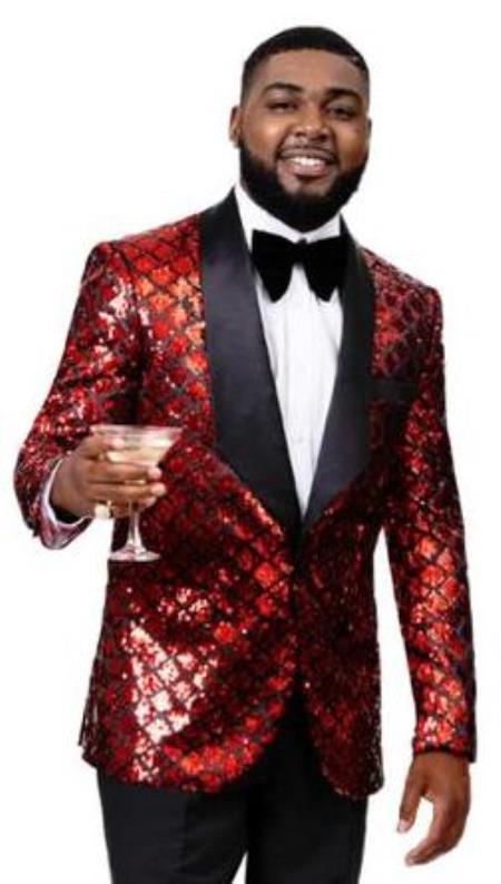 Mens 2 Button Front Red ~ Black Sequin Tuxedo Blazer Jacket