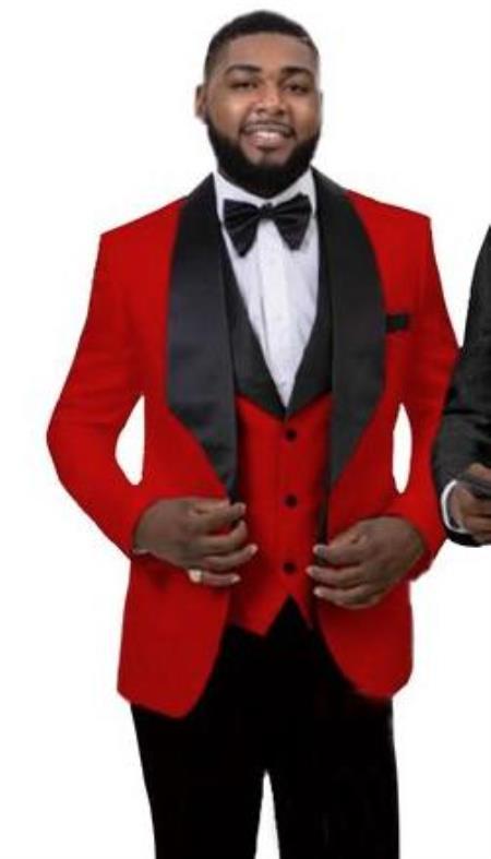 Mens 1 Button Front Red Tuxedo Jacket Vest Set