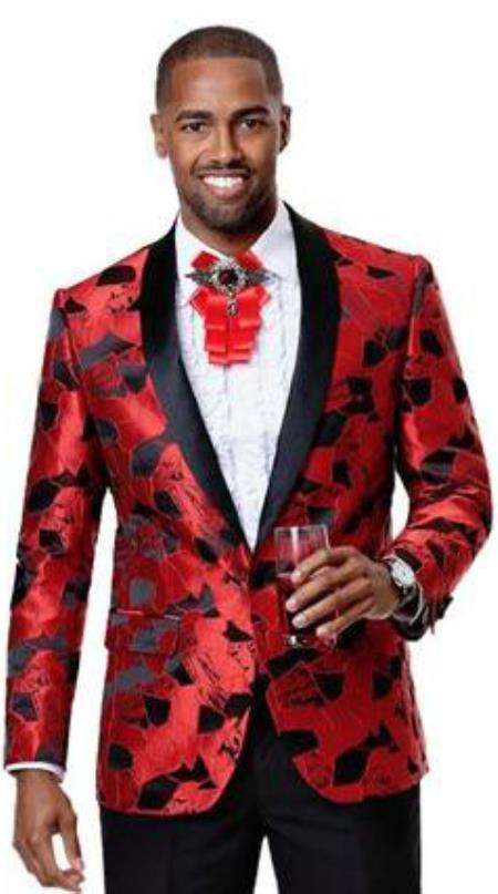 Mens 1 Button Front Red Black Shiny Pattern Fashionable Blazers