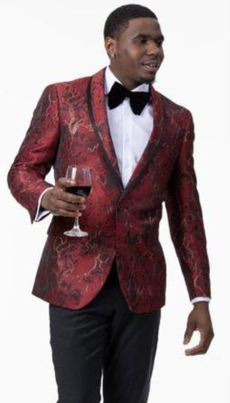 Mens 1 Button Front Red Gold Floral Pattern Designer Tuxedo Jacket