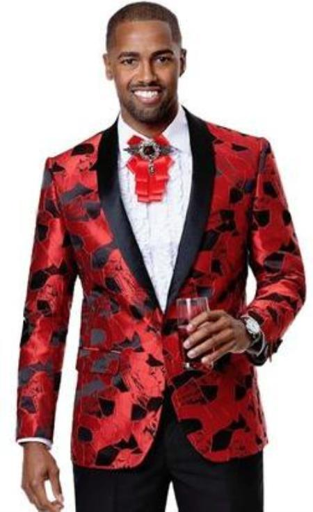 Mens 1 Button Front Red Floral Pattern Party Blazer