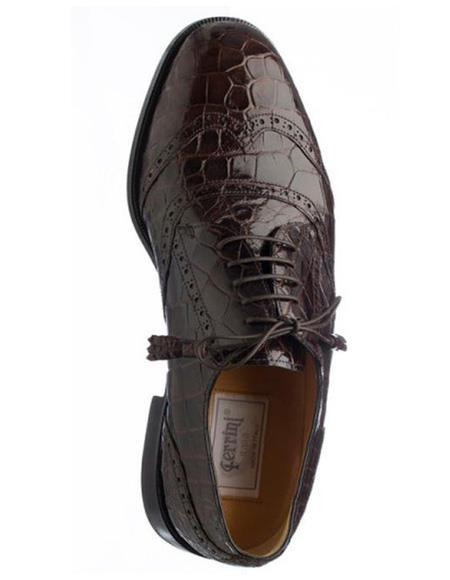 Mens Ferrini Brand Shoe Mens Brown Color Alligator Skin Shoes