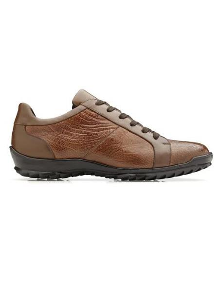 Mens Genuine Ostrich and Italian Calf Sneaker Honey