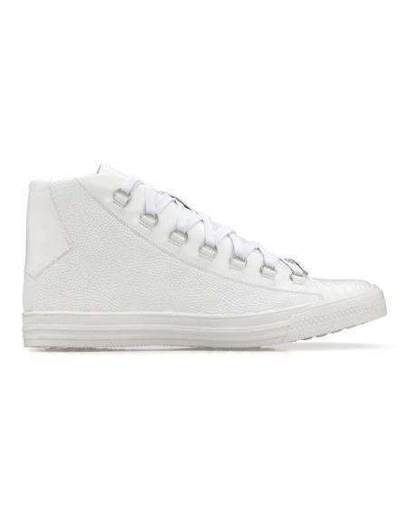 Mens Genuine Caiman Crocodilus Sneaker White