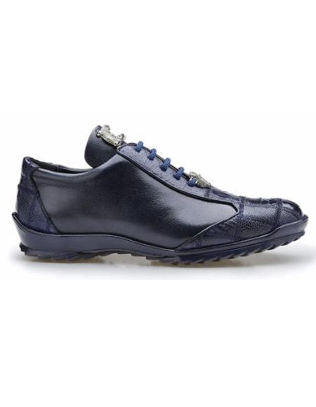Mens Leather Lining Genuine Ostrich and Soft Calf Sneaker Night Blue