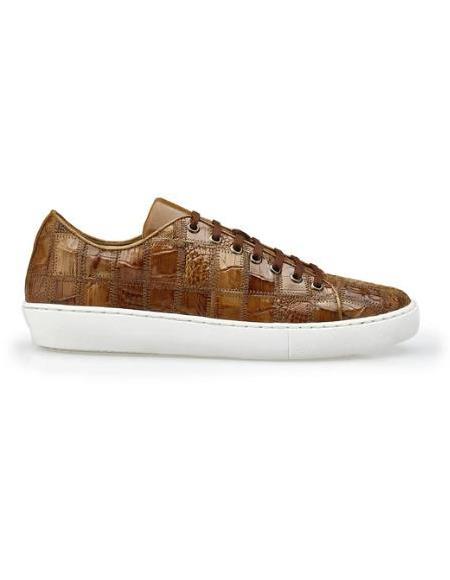 Mens Leather Lining Genuine Caiman Crocodilus Patchwork Honey