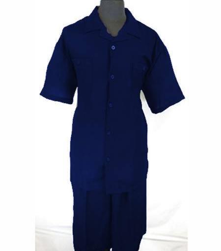 Mens Five Button PJ Collar Dark Royal Blue Side Vent Shirt Walking Leisure Suit