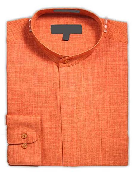 Banded Collar - Mandarin Collar - No Collar Dress Shirt Rust