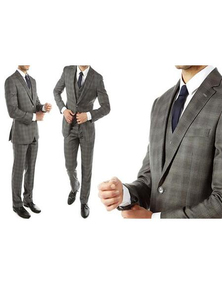 Ultra Slim Fit Gray With Tint of Blue Plaid Suit - Grey Windowpane Vested Suit