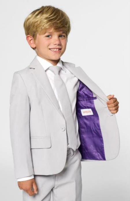 Boys Single Breasted Notch Lapel Grey Color Jacket