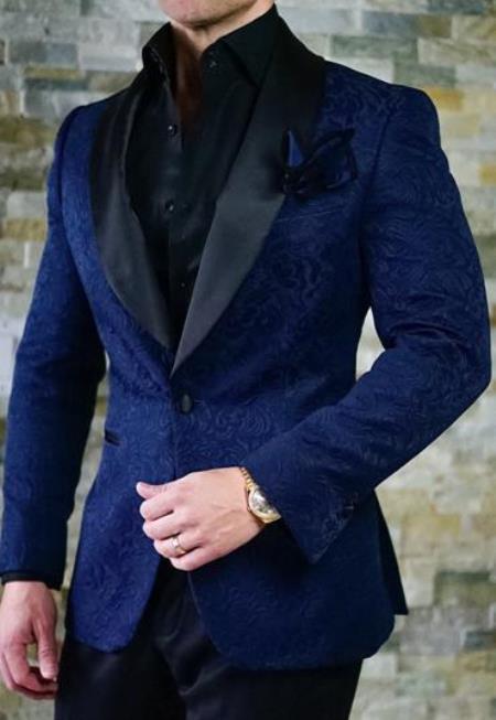 Navy Blue Velvet Blazer - Paisley Blazer - Blue Dinner Jacket - Floral Tuxedo