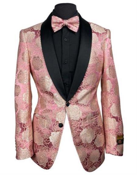 Pink Blazer - Pink Tuxedo Blazer Jacket + Bowtie