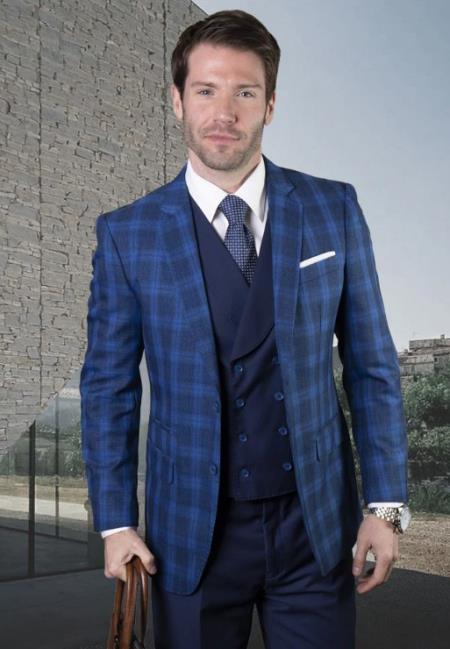 Plaid Suit - Windowpane Suit + Wool Suit + Sapphire