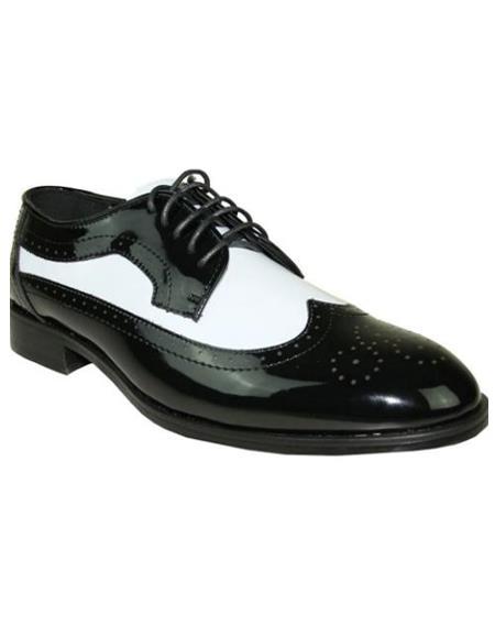 Mens Black and White Jean Tuxedo Shoes