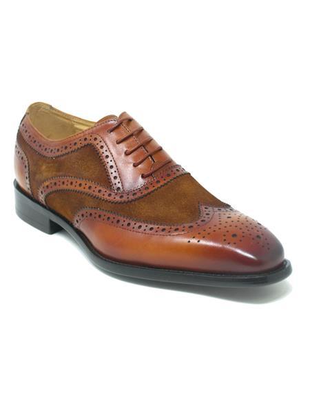 Wingtip Shoe - Two Toned Shoe - Lace Up Shoes - Carrucci Shoes - Leather Shoes - Carrucci Brand Shoes + Cognac