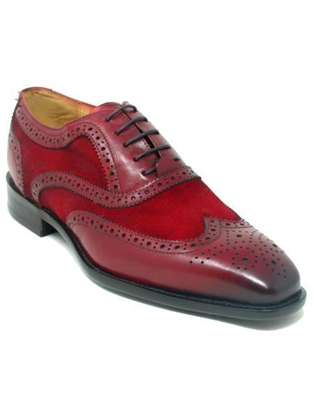 Wingtip Shoe - Two Toned Shoe - Lace Up Shoes - Carrucci Shoes - Leather Shoes - Carrucci Brand Shoes + Red