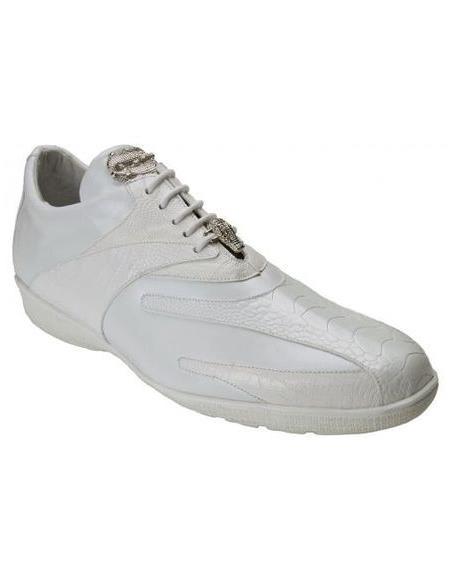 Belvedere Mens White Ostrich Sneaker