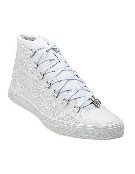 Belvedere Mens White Exotic Sneaker