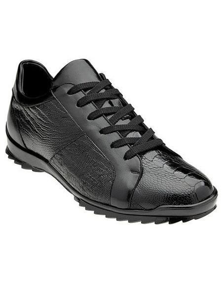 Belvedere Mens Black Ostrich Leg Fashion Sneakers