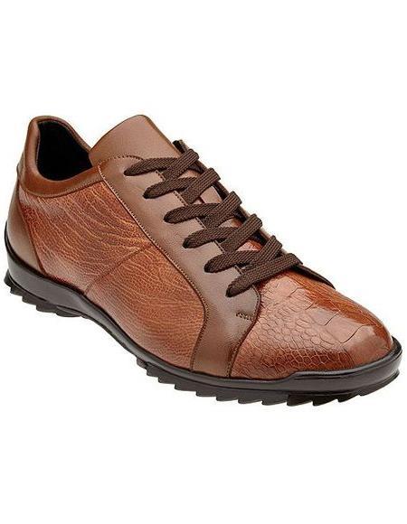 Belvedere Mens Honey Ostrich Leg Fashion Sneakers