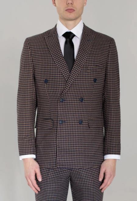 Mens Navy Blue and Tan Large Houndstooth Double Breasted Suit