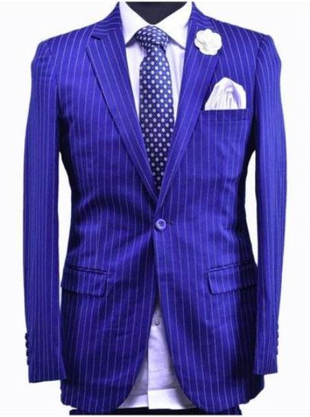Dark Royal Blue And White Stripe - Indigo Pinstripe Suit - Light Blue Stripe Suit