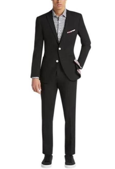 Black and White Buttons Suit - 2 Button Slim Fit Suit