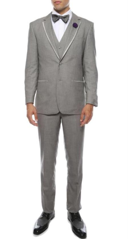Prom Tuxedo - Wedding Tuxedo 'Celio' Grey 3-Piece Slim Fit Notch Lapel Tuxedo