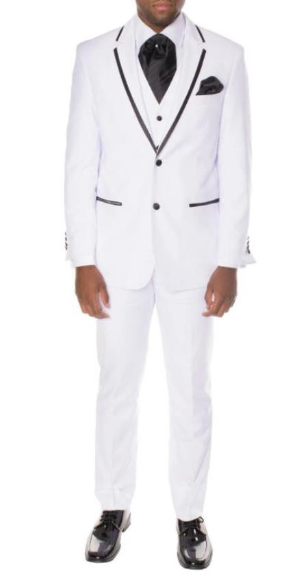 Prom Tuxedo - Wedding Tuxedo 'Celio' White and Black 3-Piece Slim Fit Notch Lapel Tuxedo