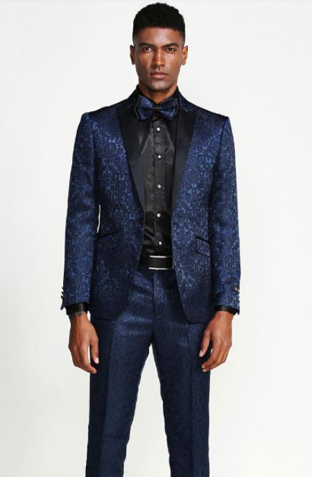 Velvet Suits Paisley Suit - Midnight Blue Velvet Paisley Tuxedo - Navy Blue Tuxedo