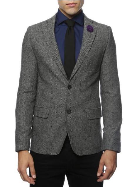 Black and White Tweed Blazer - Gray Herringbone Sport Coat - Slim Fit Mens Blazer