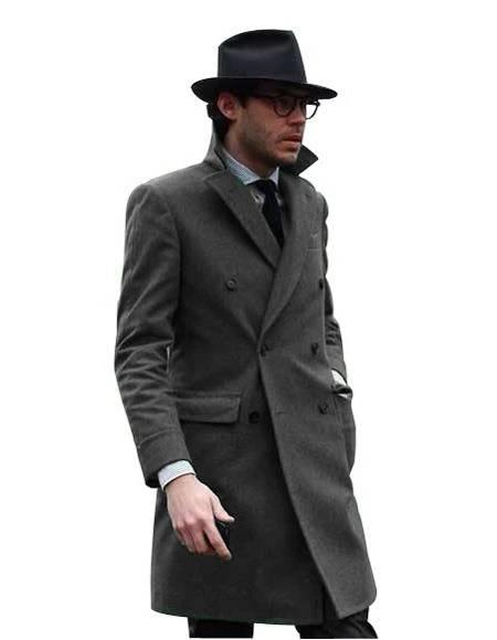 Double Breasted - Three Quarter Coat - Cashmere and Wool Topcoat + Style# Manhattan Charcoal