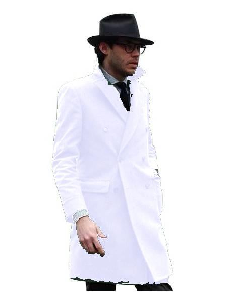 Double Breasted - Three Quarter Coat - Cashmere and Wool Topcoat + Style# Manhattan White