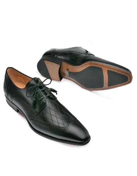 Mezlan Shoes Black Diamond Inlay Wingtip Shoes
