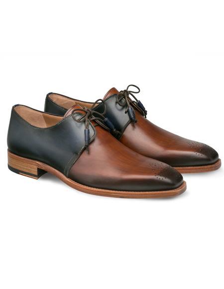 Mezlan Shoes Cognac Blue Two Tone Plain Toe Shoes