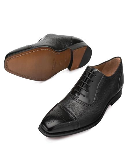 Mezlan Shoes Black Deerskin and Polished Calfskin Shoes