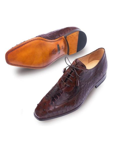 Mezlan Getty Tobacco Brown Ostrich Skin Modern Wingtip Style Shoes