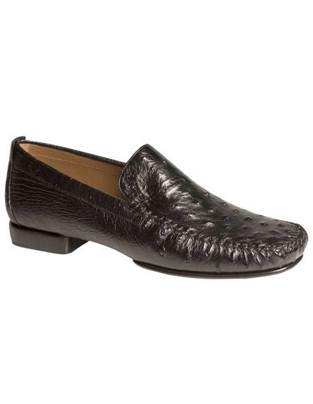 Mezlan Rollini Black Bumpy Ostrich Skin Italian Casual Loafer Style Shoes