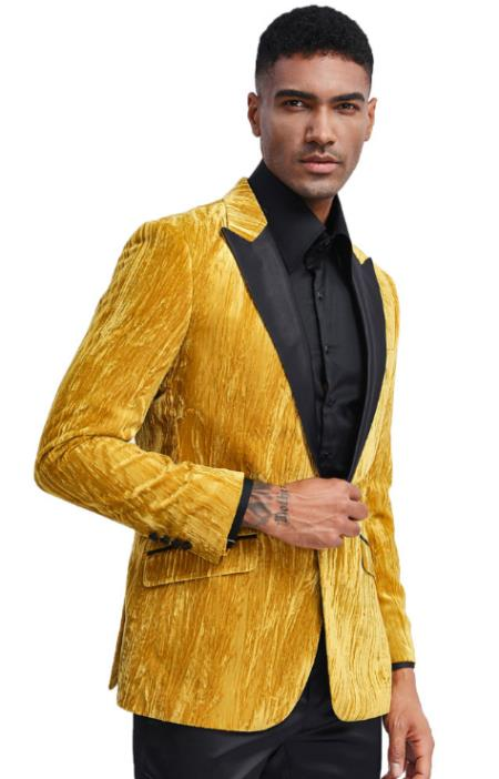 Mens Gold Tuxedo Jacket with Fancy Velvet Feel Pattern - Blazer - Prom - Wedding